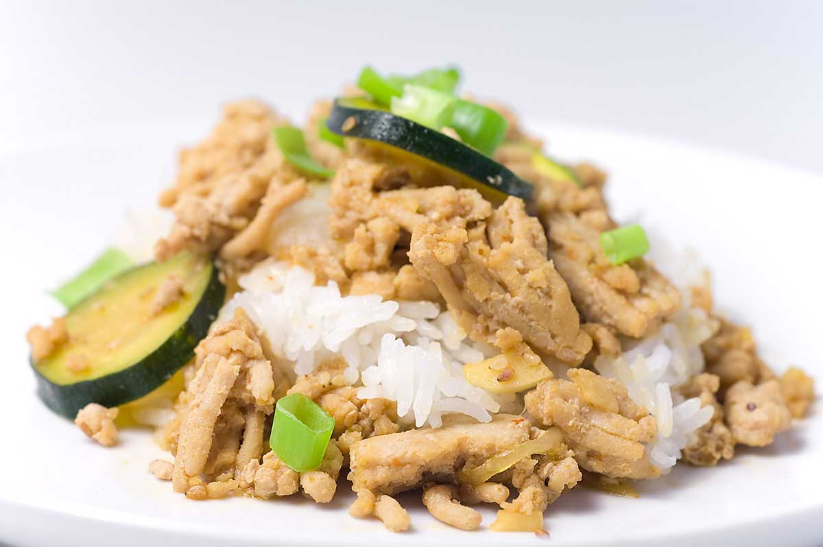 Ground Chicken Teriyaki with Zucchini and Onions