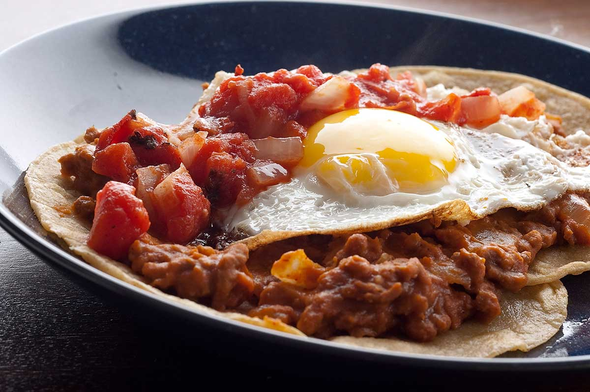 Recipe for Huevos Rancheros with Chorizo Refried Beans - Life's ...