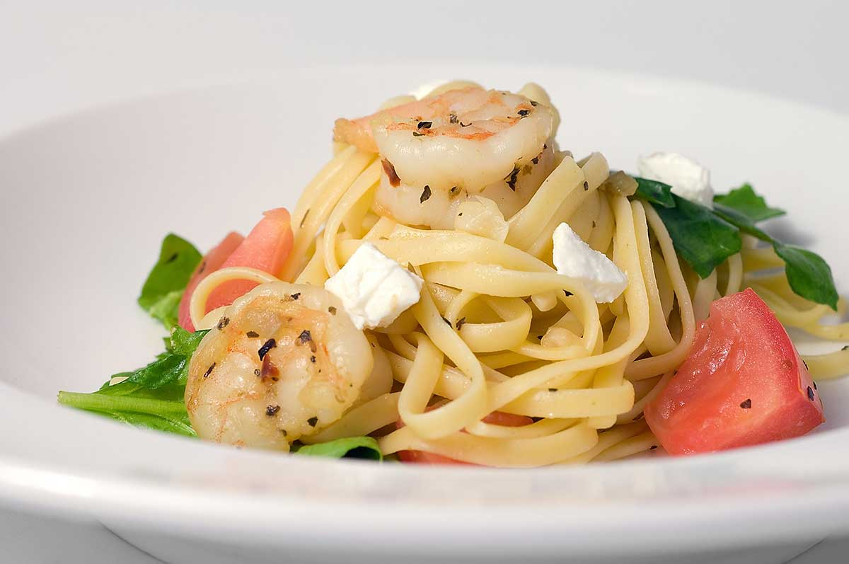 Linguinie with Prawns, Spinach, Tomatoes and Goat Cheese