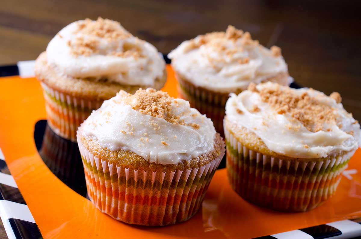 Recipe for Pumpkin Cupcakes with Biscoff Cream Cheese Frosting - Life ...
