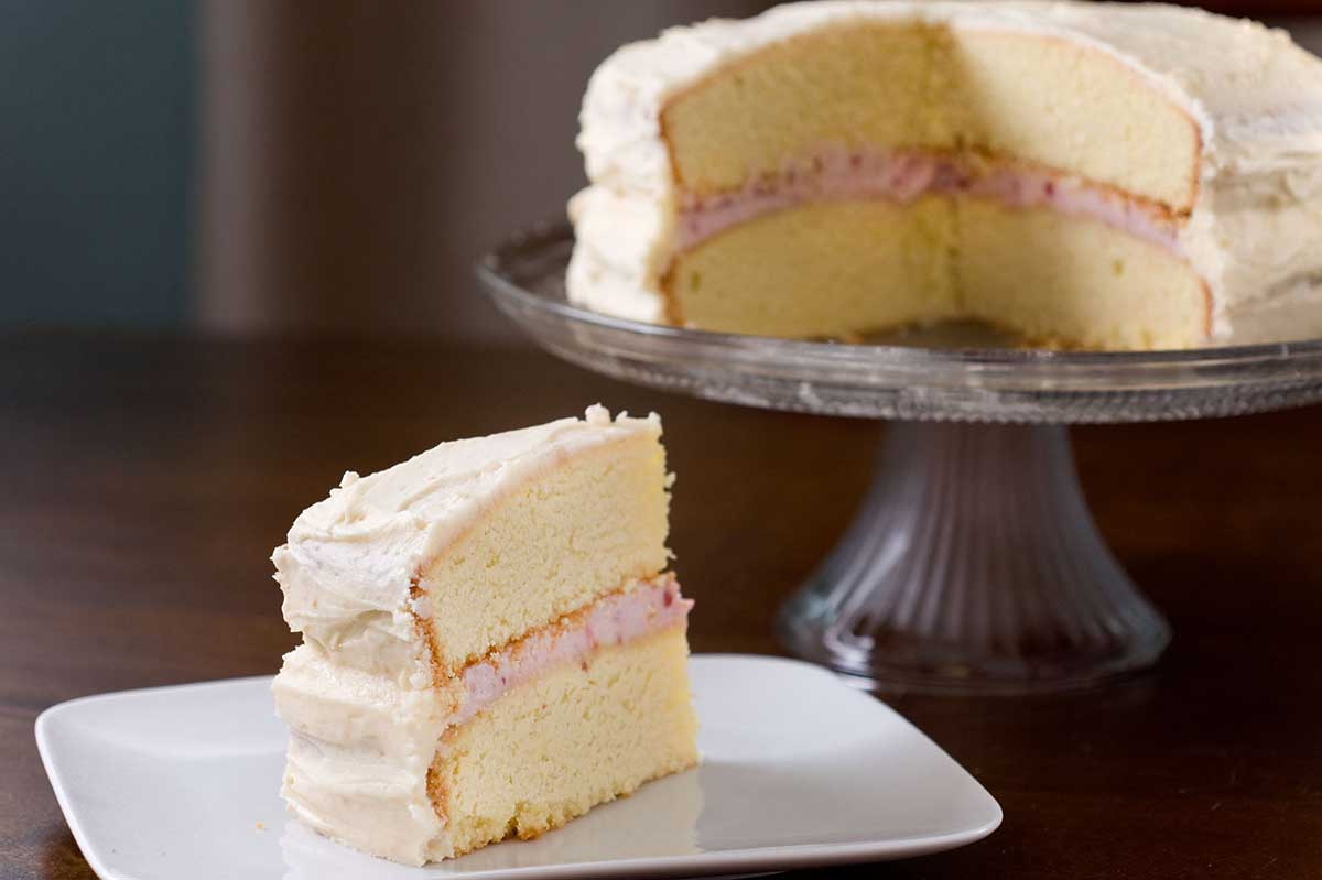 Recipe for  Raspberry Cream Cheese Filled Cake at  Life's Ambrosia