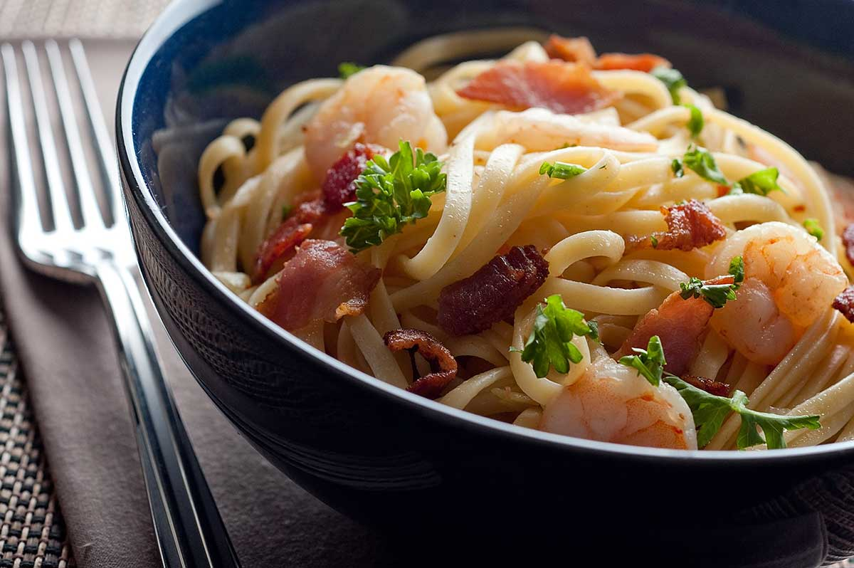 Recipe for Shrimp and Bacon Linguine - Life's Ambrosia Life's Ambrosia