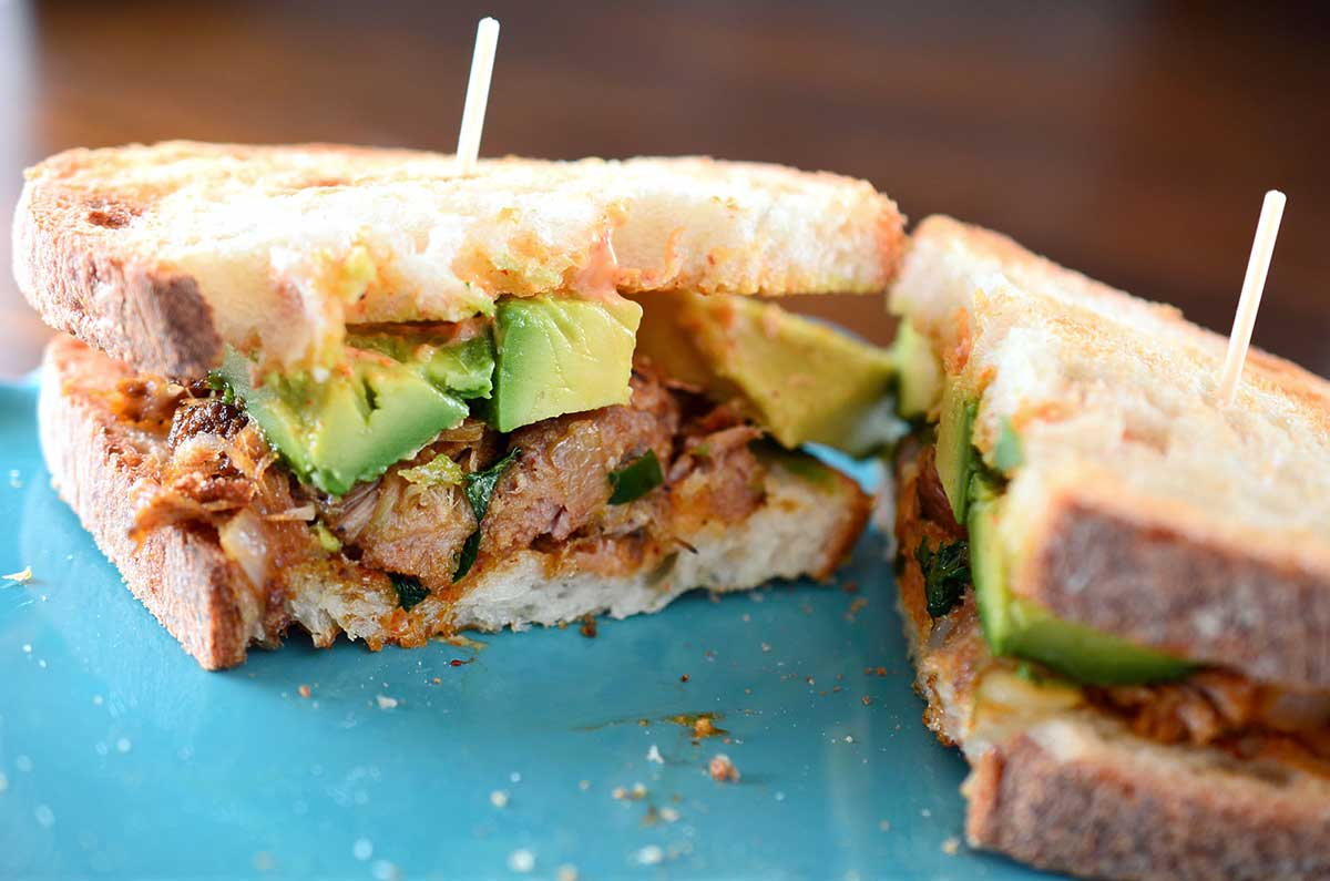 Recipe for Spiced Pulled Pork and Avocado Sandwich - Life's Ambrosia ...
