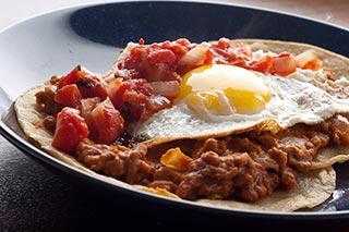 Huevos Rancheros with Chorizo Refried Beans
