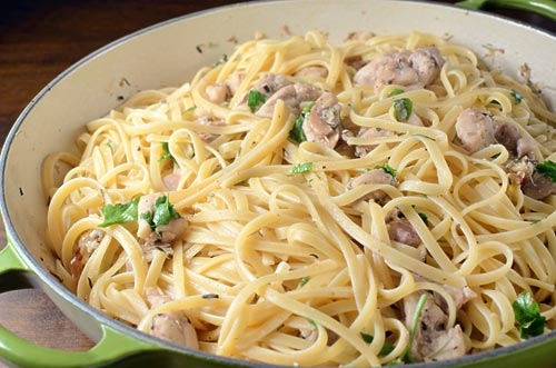 40 Clove Chicken Linguine