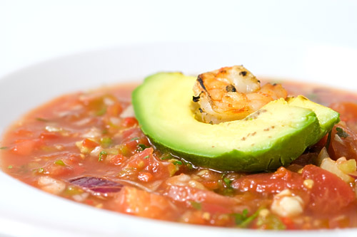 Gazpacho With Grilled Shrimp and Avocado Recipe