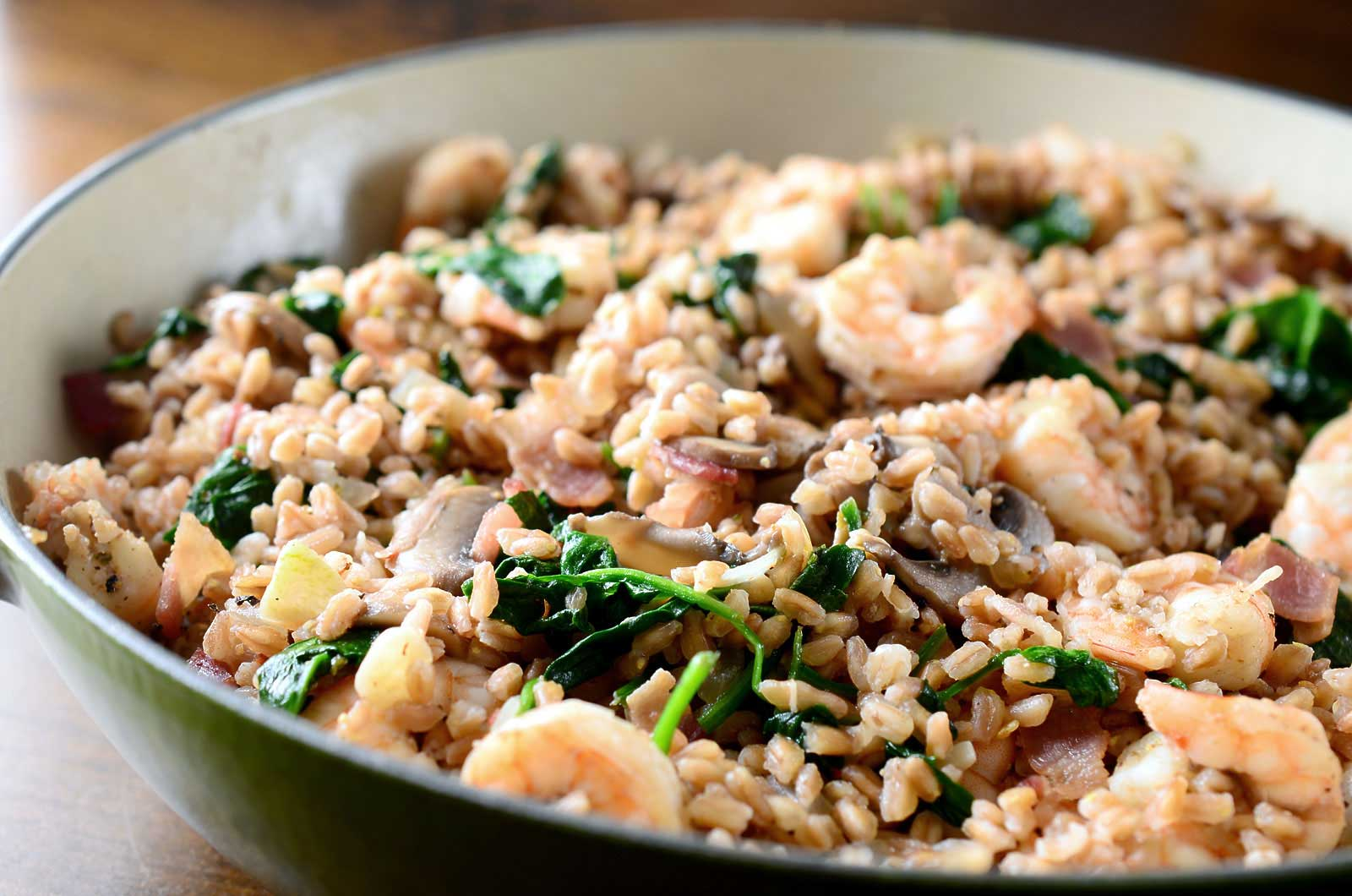 Recipe for Farro with Shrimp, Bacon, Mushrooms and Spinach at Life's ...
