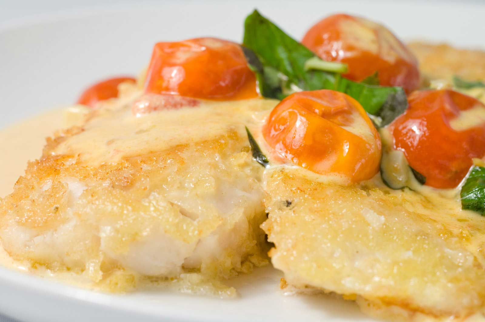 Herb & Parmigiano Crusted Tilapia With Quick Tomato Sauce ...
