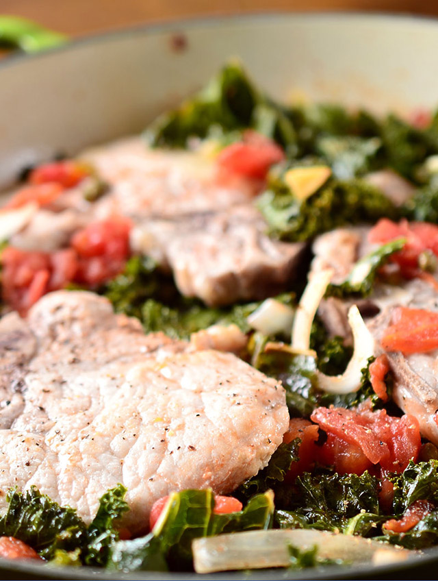 Recipe for Braised Pork Chops with Kale and Tomatoes - Life's Ambrosia ...