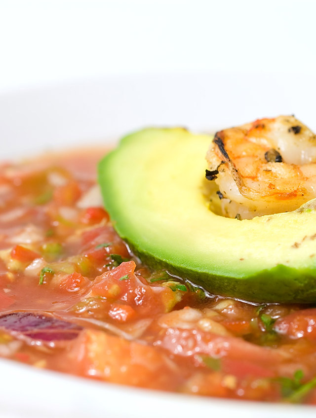 Recipe for Gazpacho with Grilled Shrimp and Avocado - Life's Ambrosia ...