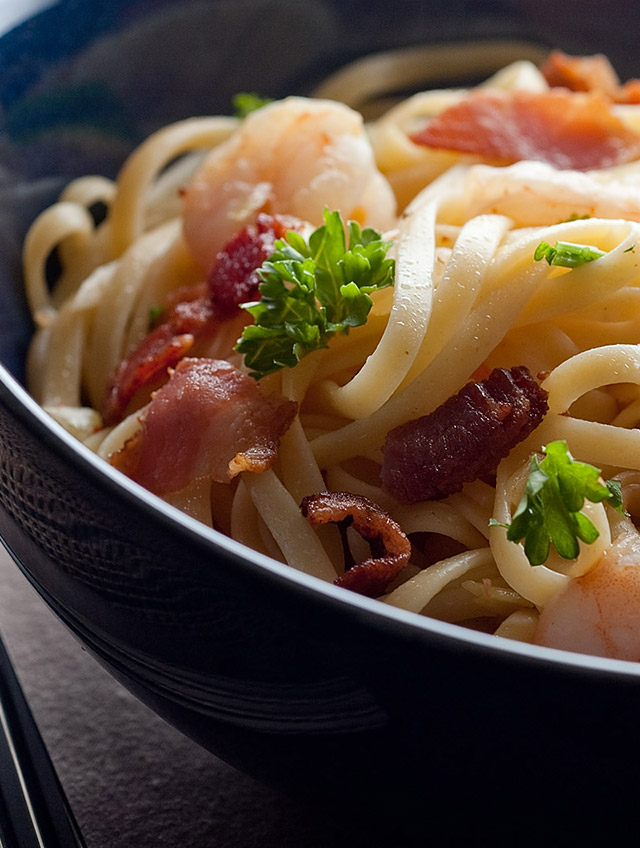 Shrimp and Bacon Linguine - Life's Ambrosia