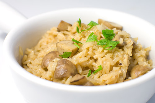 Rice Pilaf with Crimini Mushrooms