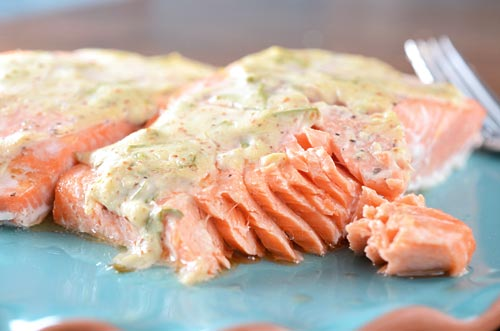 Salmon with Dijon Tarragon Sauce