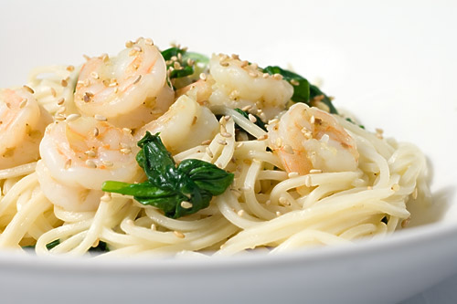 Sesame Shrimp and Spinach Noodles