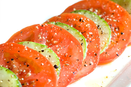 Sliced Cucumber and Tomato Salad
